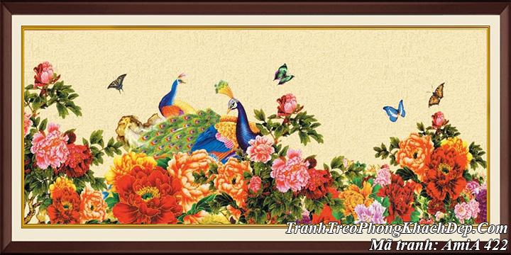 AmiA 422 tranh hoa mẫu đơn và vợ chồng chim công
