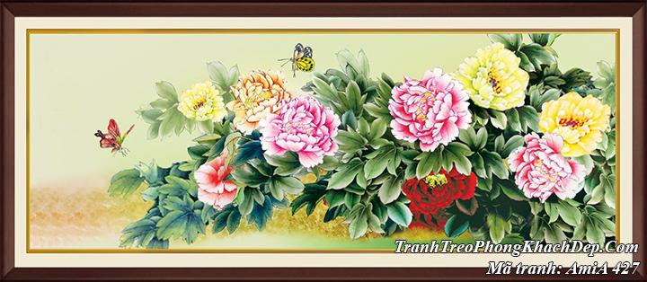 AmiA 427 tranh hoa mẫu đơn 9 bông và đôi bướm