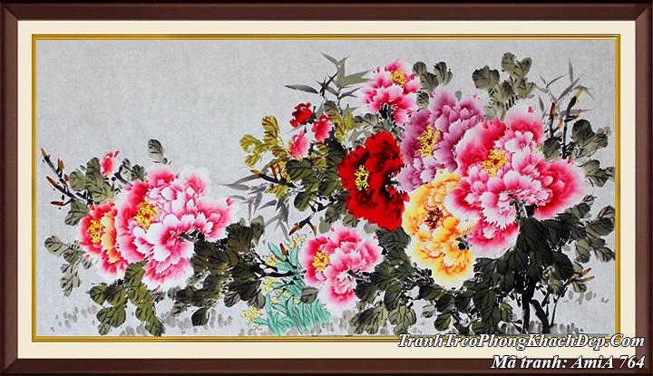 Tranh AmiA 764 hoa mẫu đơn 9 bông khổ lớn giả sơn dầu