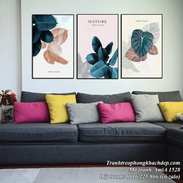 Hình ảnh tranh lá cây AmiA 1528 trang trí nội thất hiện đại