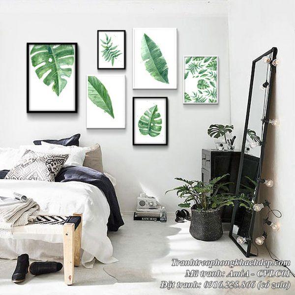 Hình ảnh tranh cây lá xanh tươi mang phong cách Bắc Âu
