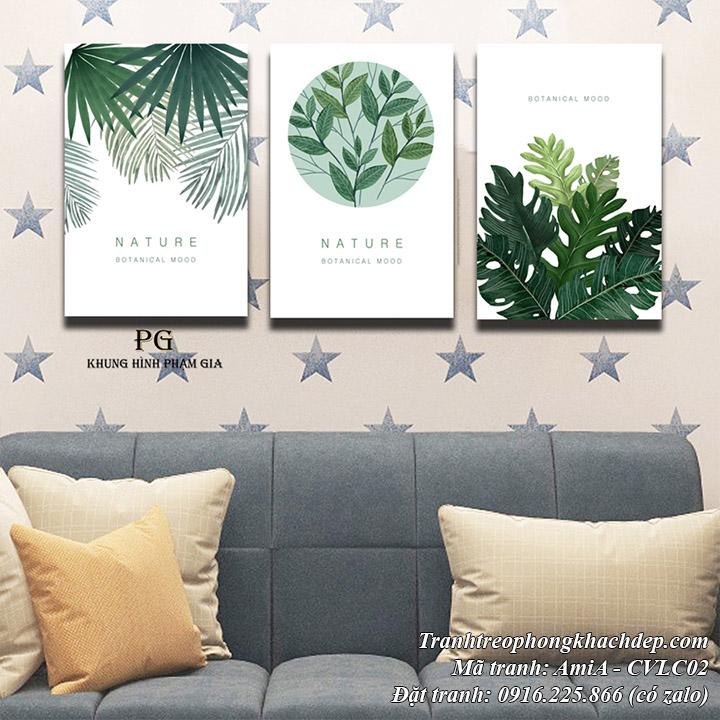 Hình ảnh tranh chiếc lá màu xanh trang trí nội thất đang thịnh hành