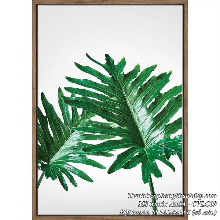 Hình ảnh tranh cây tươi tắn xanh tươi một tấm lá cây