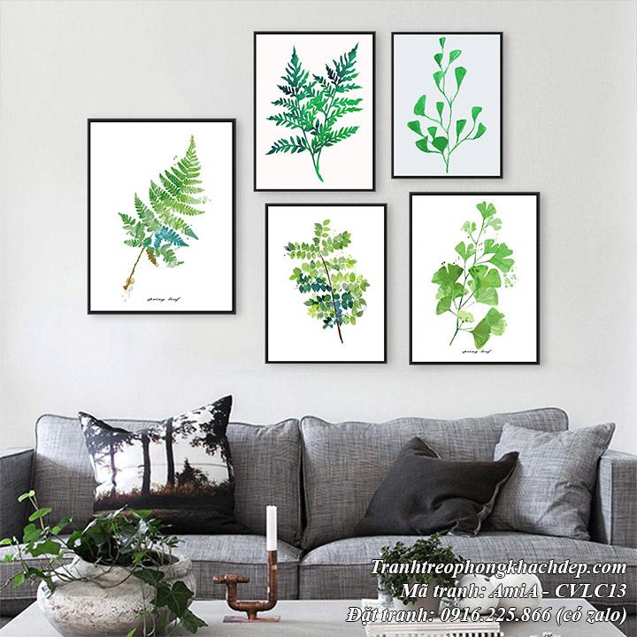 Tranh lá cây màu xanh mang phong cách Bắc Âu