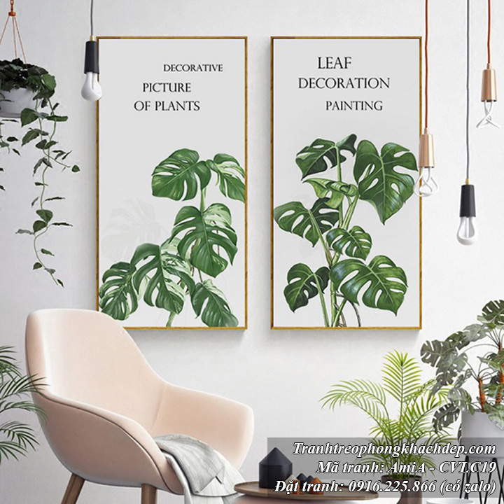 Hình ảnh tranh mang phong cách Bắc Âu trang trí phòng khách đẹp 2 tấm