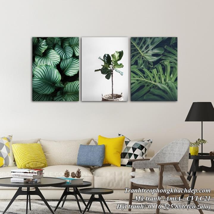 Hình ảnh tranh trang trí tương đẹp lá cây và chậu cây xanh