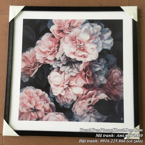 Hình ảnh tranh canvas hoa mẫu đơn hồng thực tế tại cửa hàng tranh AmiA