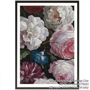 Hình ảnh tranh hoa hồng Pháp Châu Âu được làm trên vải canvas