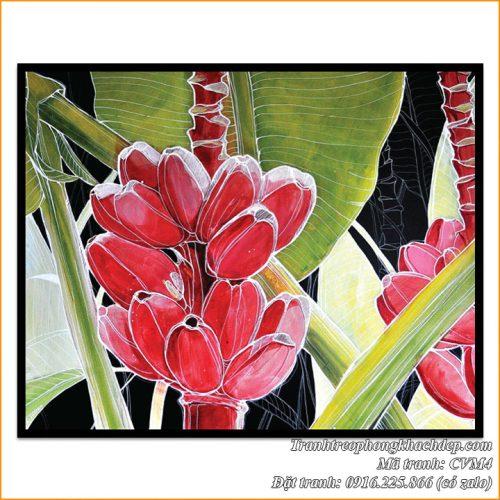 Tranh chuối cảnh nghệ thuật in trên vải canvas mã tranh AmiA CVM4