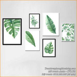 Hình ảnh mẫu bộ tranh lá cây được làm từ canvas mã AmiA CVLC01