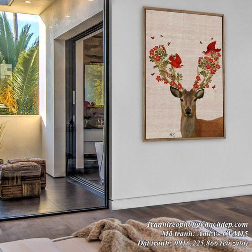 Hình ảnh tranh trang trí phòng ngủ nhà xinh với chú hươu canvas