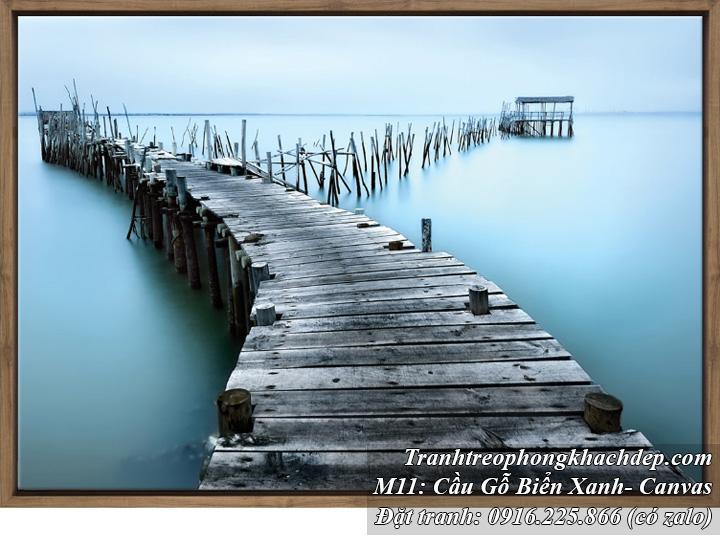 Tranh treo phòng khách cây cầu biển xanh vải canvas