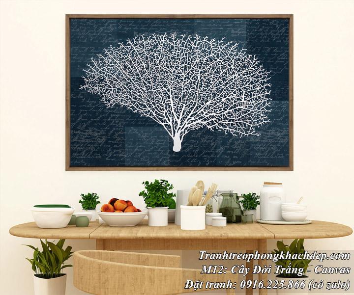 Tranh trang trí phong cách bắc âu cây đời trắng