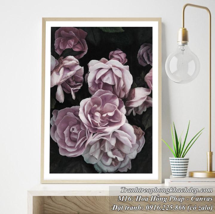 Tranh canvas nghệ thuật hoa hồng pháp tím
