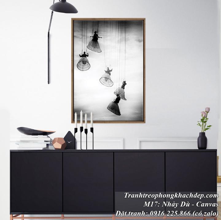 Tranh nghệ thuật đen trắng nhảy dù in vải canvas