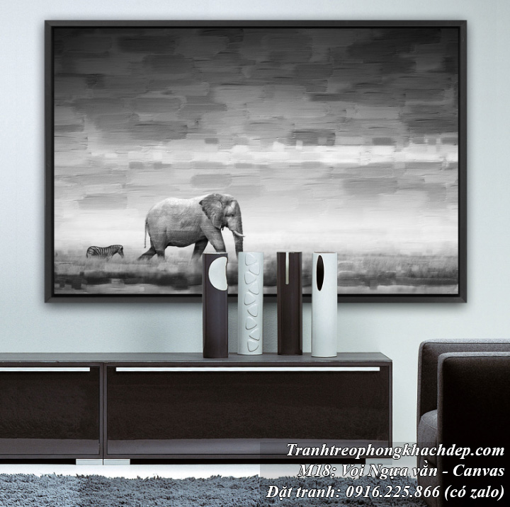 Tranh trang trí phong cách Bắc Âu chú voi và ngựa vằn