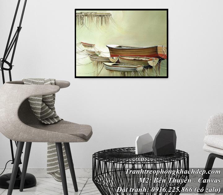 Tranh chiếc thuyền in vải canvas treo phòng khách đẹp