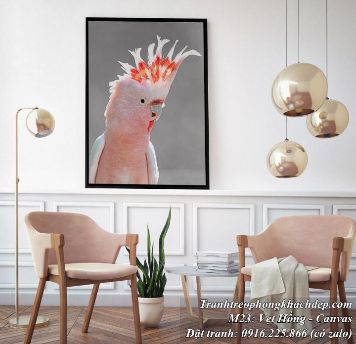 Tranh Bắc Âu chú vẹt hồng trang trí nhà khách hiện đại