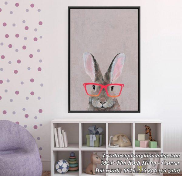 Tranh trang trí bắc âu thỏ kính hồng đáng yêu