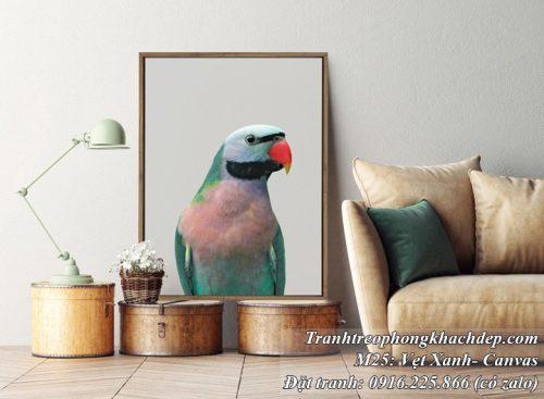 tranh trang trí nhà hiện đại chú chim vẹt xanh
