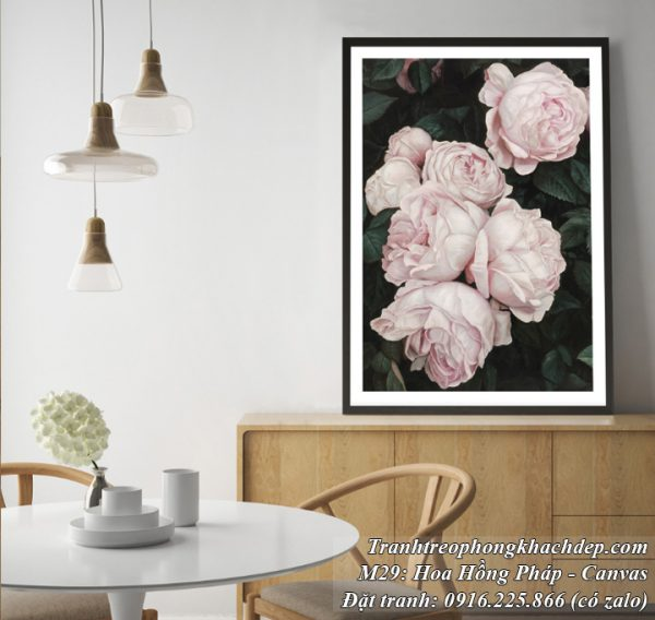 Tranh canvas đẹp hoa hồng Pháp