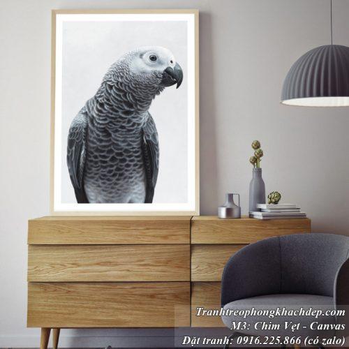 Tranh chú vẹt đen trắng treo phòng khách