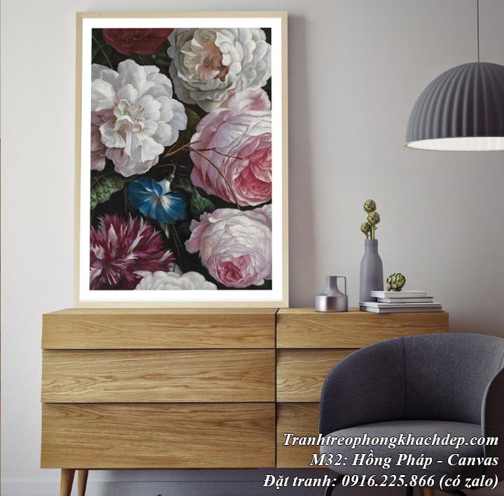 Tranh hoa hồng Pháp phong cách bắc Âu