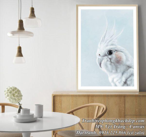Tranh trang trí phòng khách phong cách Bắc Âu chú vẹt trắng