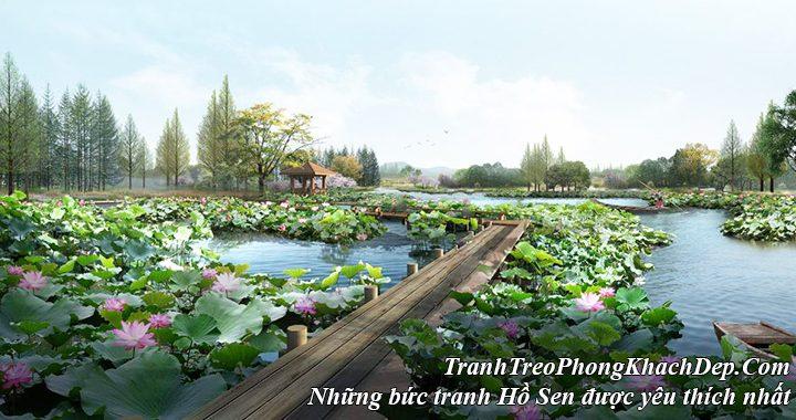 Những bức tranh đẹp về Hồ Sen treo phòng khách hiện đại