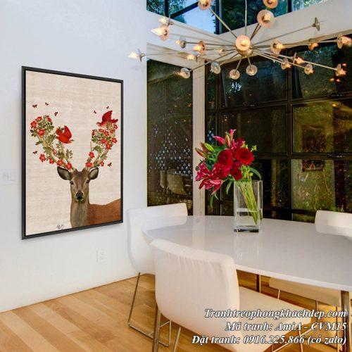 Phòng ăn nhà bếp trang trí tranh chú hươu canvas