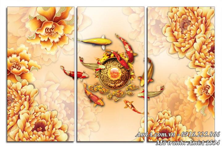 Hình ảnh tranh giả ngọc cá chép hoa mẫu đơn AmiA 1534