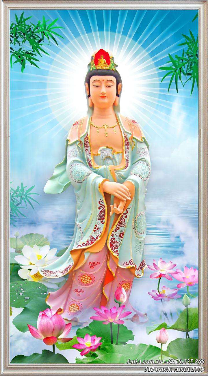 Tranh khung treo tường Phật Bà Quan Âm Amia 1539