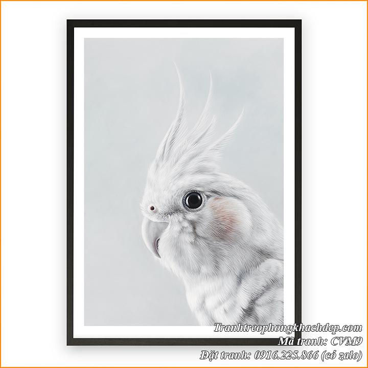Hình ảnh tranh trang trí bắc Âu hình chim vẹt màu trắng AmiA CVM9