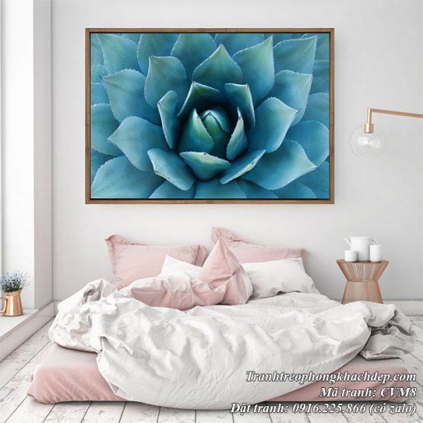 Tranh sen đá màu xanh phong cách Bắc Âu trang trí phòng ngủ