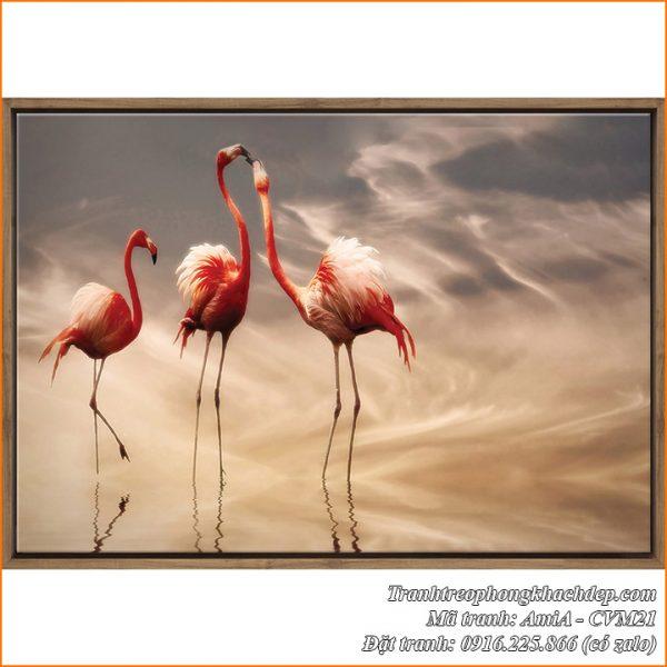 Tranh canvas mã AmiA CVM21 3 chú chim hồng hạc