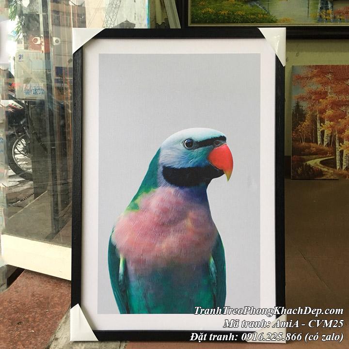 Hình ảnh tranh canvas chú vẹt xanh mã Amia CVM25 thực tế tại cửa hàng