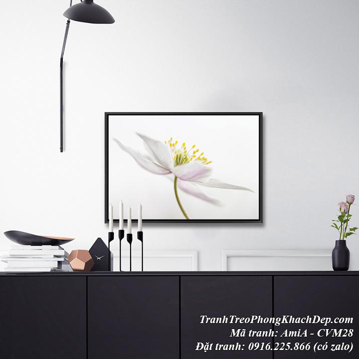 Hình ảnh tranh canvas hoa trắng tinh khôi nghệ thuật