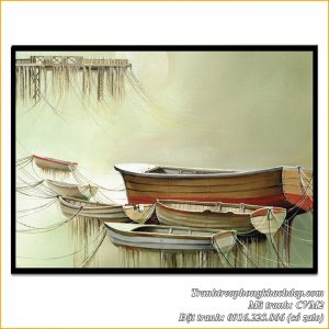 Tranh canvas mã Amia CVM2 bến thuyền trang trí phòng khách đẹp