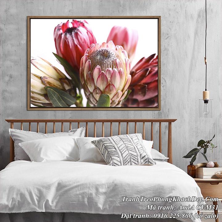 Tranh canvas búp hoa treo trang trí phòng ngủ đẹp Amia CVM31