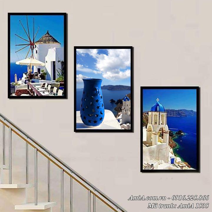 Hình ảnh tranh AmiA 1535 phong cảnh đẹp thành phố biển treo phòng khách làm từ canvas