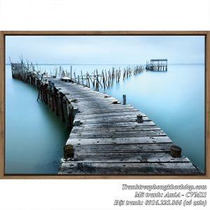 Tranh Amia CVM11 tranh canvas phong cảnh cầu gỗ biển xanh