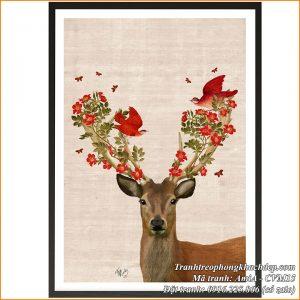 Hình ảnh tranh chú hươu sừng hoa canvas AmiA CVM15