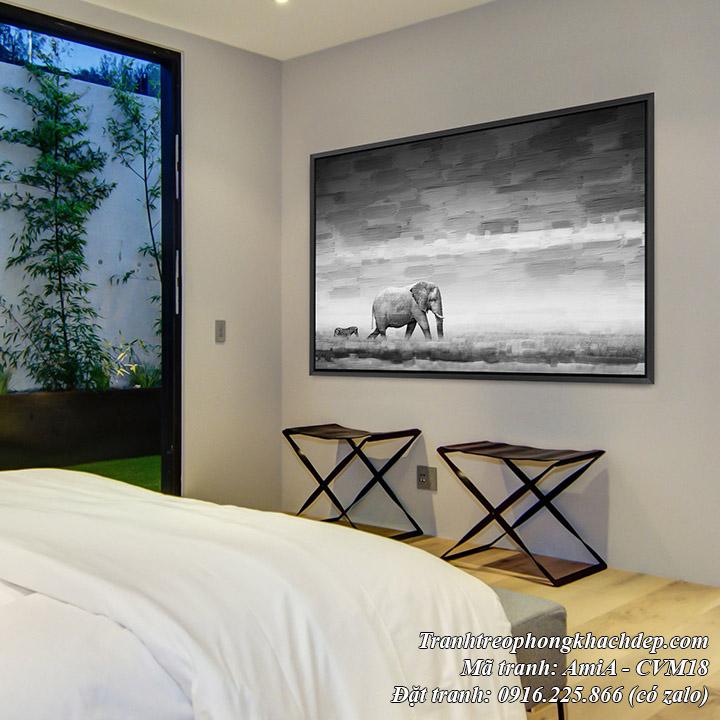Hình ảnh tranh canvas trang trí khách sạn chú voi và ngựa văn trên thảo nguyên