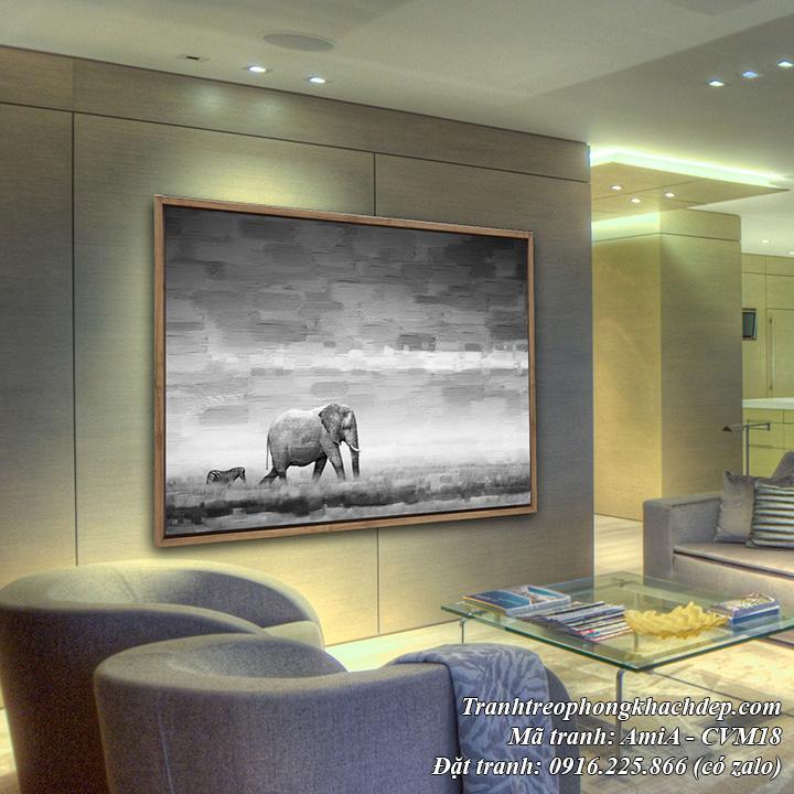 Tranh canvas AmiA CVM18 chú voi và ngựa vằn trên thảo nguyên