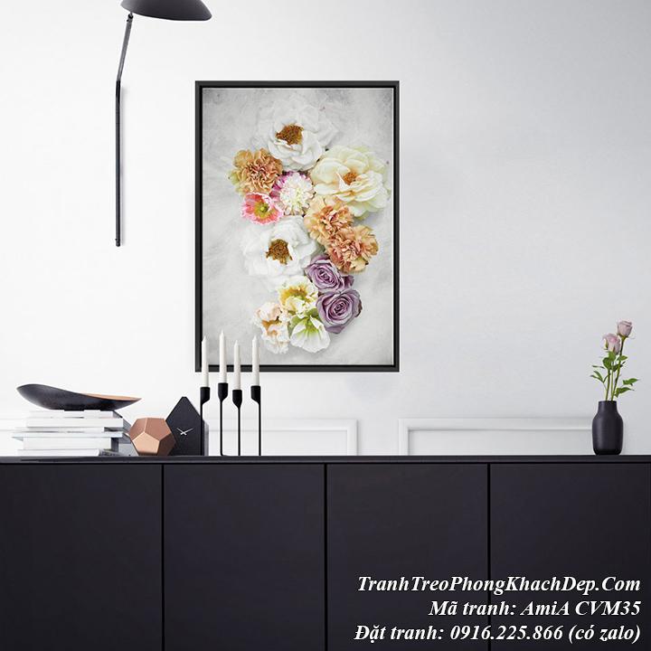 Hình ảnh tranh treo phòng khách đẹp nghệ thuật AmiA CVM35 hoa hồng