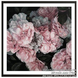 AmiA CVM30 tranh hoa mẫu đơn hồng in vải canvas