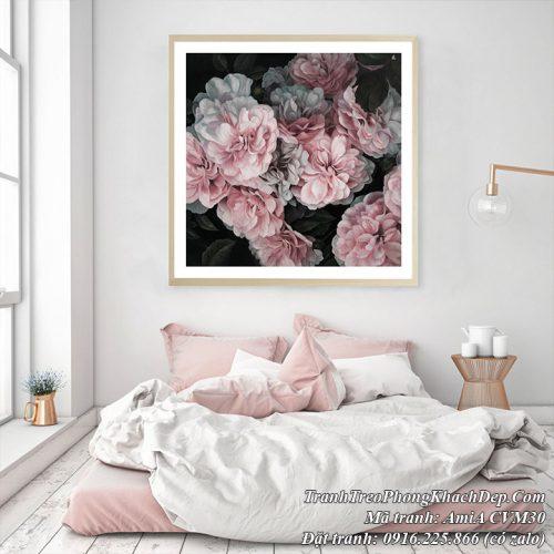 Tranh hoa mẫu đơn hồng canvas AmiA CVM30 trang trí phòng ngủ