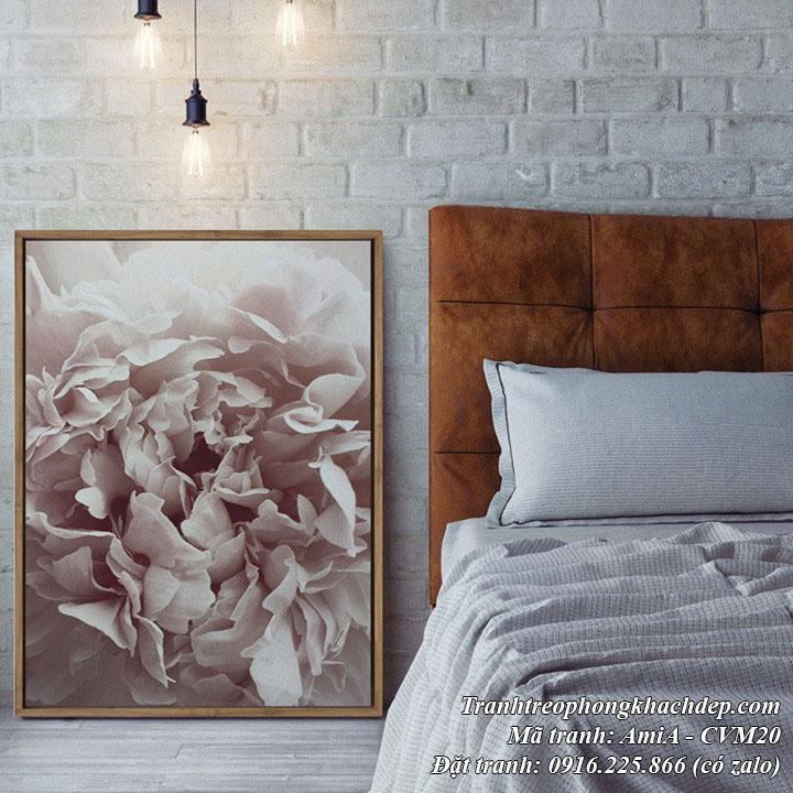 Tranh treo phòng ngủ đẹp canvas hoa mẫu đơn