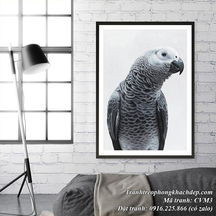 Hình ảnh mẫu tranh canvas chim vẹt đen trắng ghép nội thất phòng khách