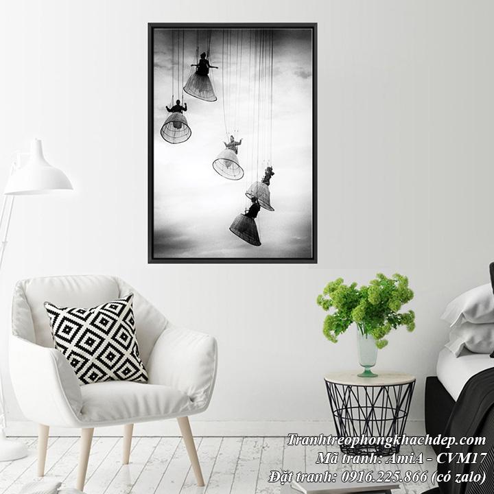 Tranh đen trắng treo phòng khách hình ảnh nhảy dù nghệ thuật